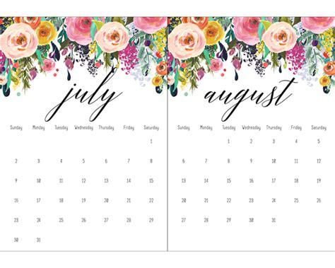 printable floral calendar calendar