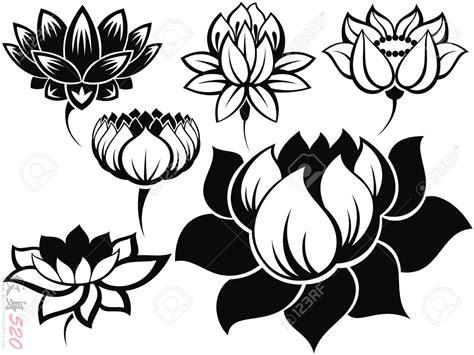 漂亮的黑色简单线条含苞待放的植物莲花纹身手稿
