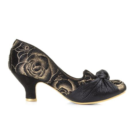 womens irregular choice dazzle black gold kitten low