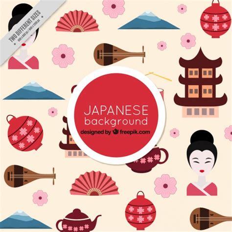 japan design japan culture elements in flat design background vector