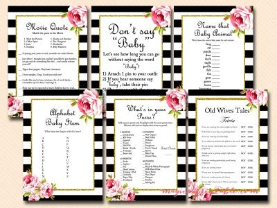 Spellings Baby Shower To Be Sponsored By Tupperware by Black Stripes Floral Baby Shower Set Magical Printable