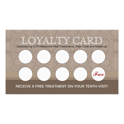 nail salon loyalty cards business card templates