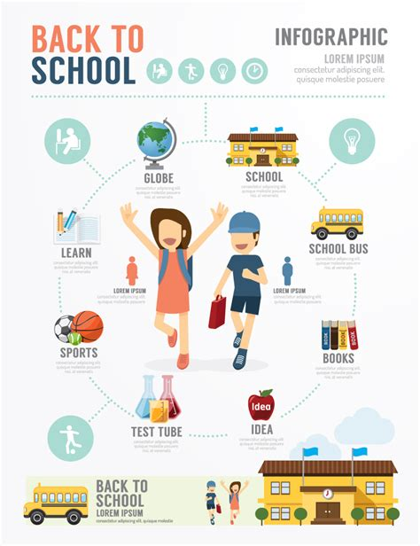 infographic art infographic back to school vector free vector graphic