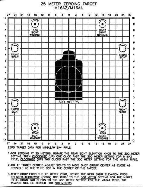 printable zero targets for m4 m4 25 meter zero target
