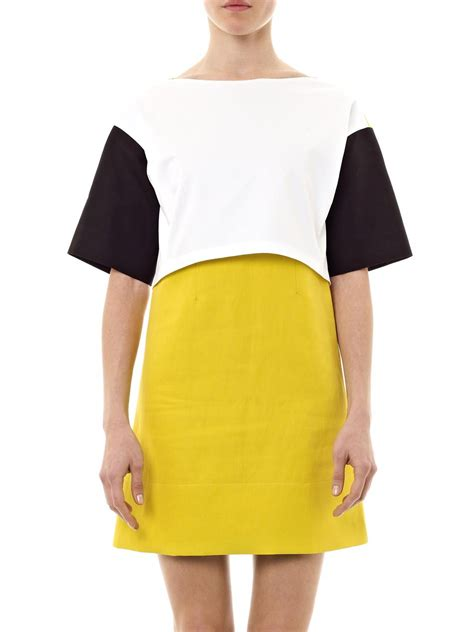 Cotton Dress Yellow Blue 30086 lyst cedric charlier contrast panel cotton dress in blue