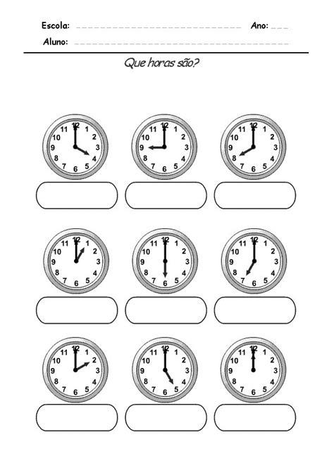 Números e muito mais...: Atividades Relógios para