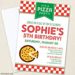 pizza invitations professionally printed or diy printable by chickabug llc catch my
