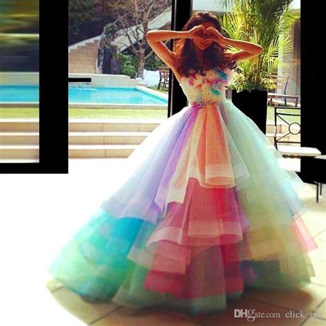 Rainbow Colorful Prom Dresses Sweetheart Layers Organza