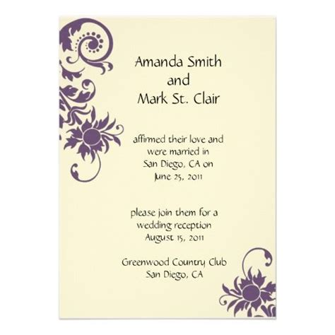 Reception Wedding Invitations by Wedding Invitation For Someone Already Married Purple
