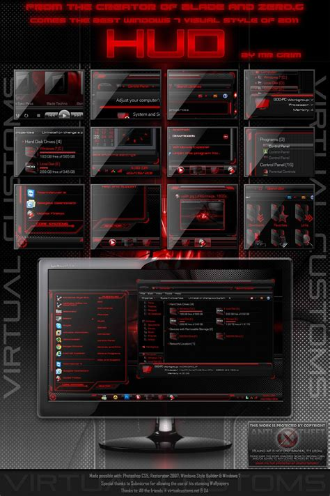 themes exe download hud red windows 7 theme free download by creativx006 on