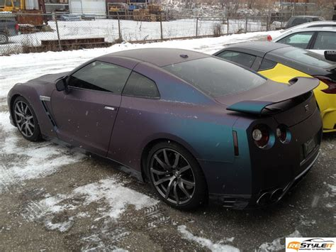 nissan gtr wrapped matte purple chameleon gtr vehicle customization shop