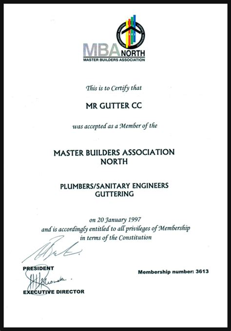Mba Certificate by Mba Certificate Mr Gutter Seamless Gutters And Downpipes