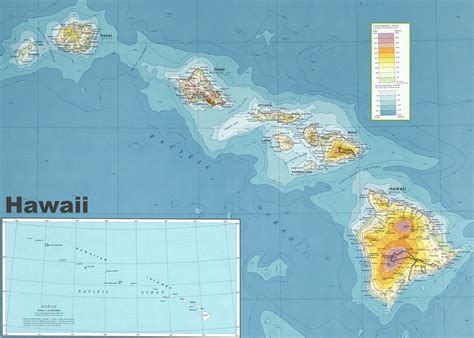 map of hi hawaii physical map