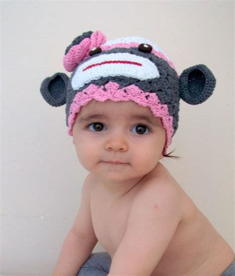 Baby Sock And Hat cotton sock monkey hat crochet baby hat for baby or