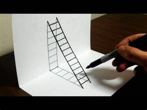draw 3d how to draw a 3d ladder trick for