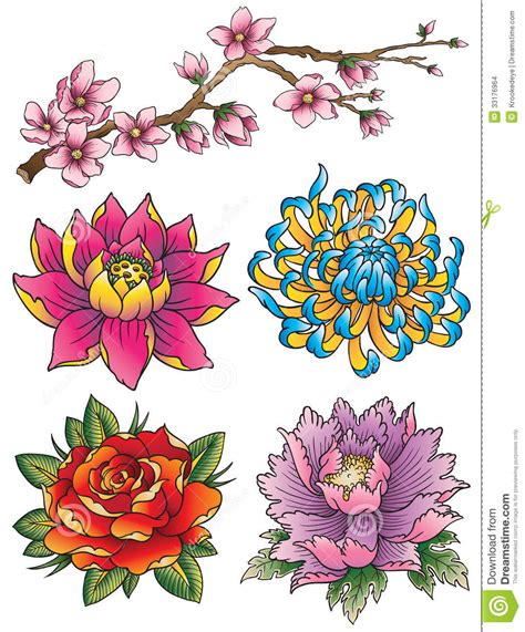 tattoo flower set stock vector illustration of asian