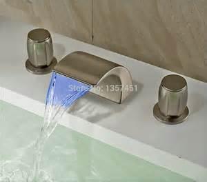 waterfall bathroom sink faucet brushed nickel led light waterfall bathroom sink faucet 3 holes basin