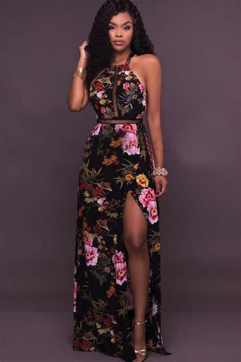 Strappy Slit Maxi Dress black halter floral printed strappy backless slit