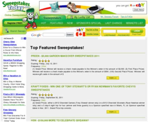 Sweepstakes Today Com - sweepstakestoday com sweepstakestoday com home of high quality online sweepstakes