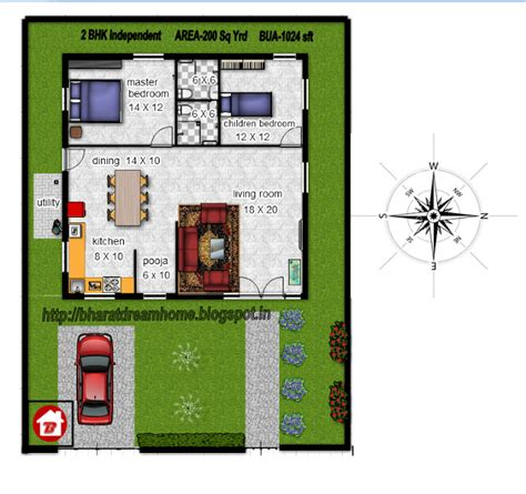 Bharat Dream Home 2 Bedroom Floorplan 1024 Sq Ft East Facing 1000 Square House Plans East Facing