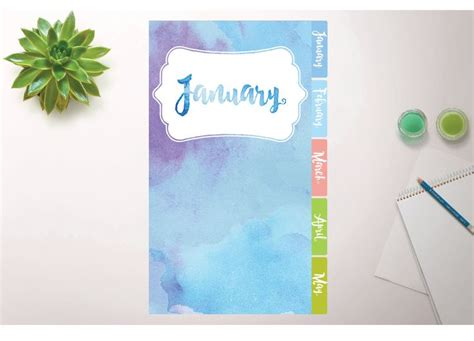 printable personal planner dividers printable monthly planner divider in watercolor four