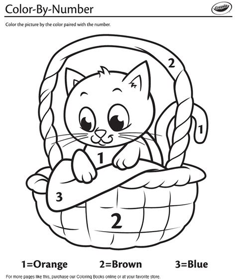 crayola coloring cat page kitten in a basket color by number coloring page crayola com