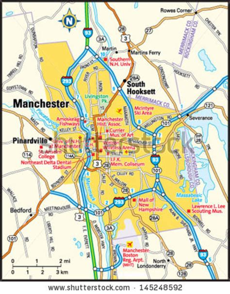 manchester new hshire map stock photos royalty free images vectors