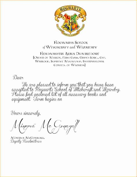 harry potter acceptance letter template hogwarts letter template image collections template