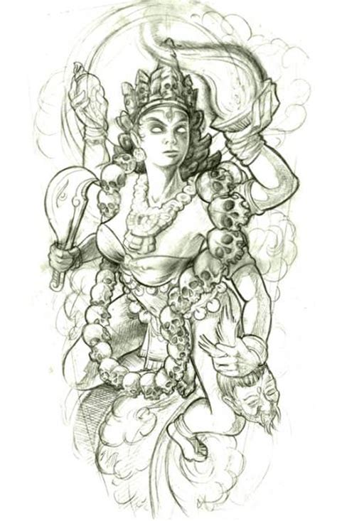 hindu god tattoos designs a hindu goddess wears a necklace of skulls in this