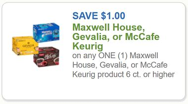 printable coupons for maxwell house k cups keurig coupon 1 off any one maxwell house gevalia or