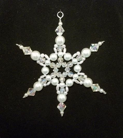 beaded snowflake ornament snowflake ornament white pearl and clear ab