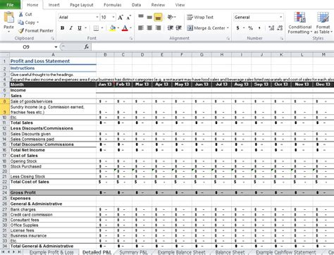 monthly p l template restaurant profit and loss statement template excel