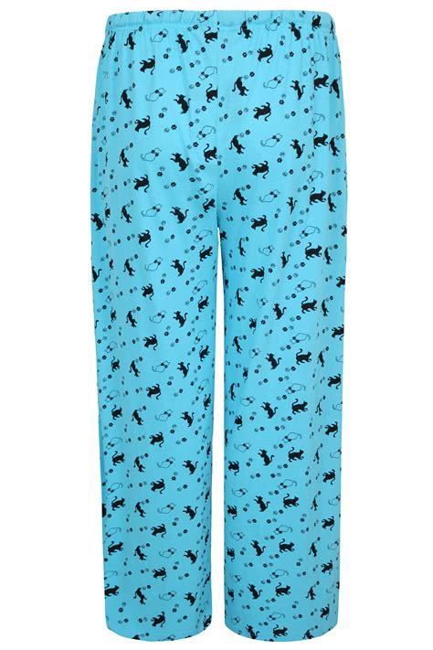 Piyama Cat Blue bright blue cat print length pyjama bottom plus size