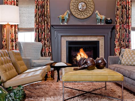 Blue Transitional Living Room Eclectic Gray Living Room With Fireplace Hgtv