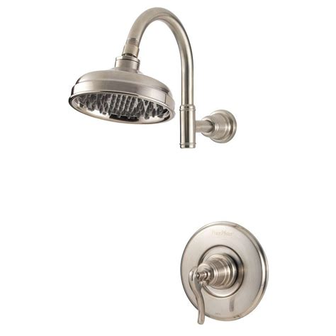 Brushed Nickel Shower by Pfister Ashfield Single Handle Shower Faucet Trim Kit In