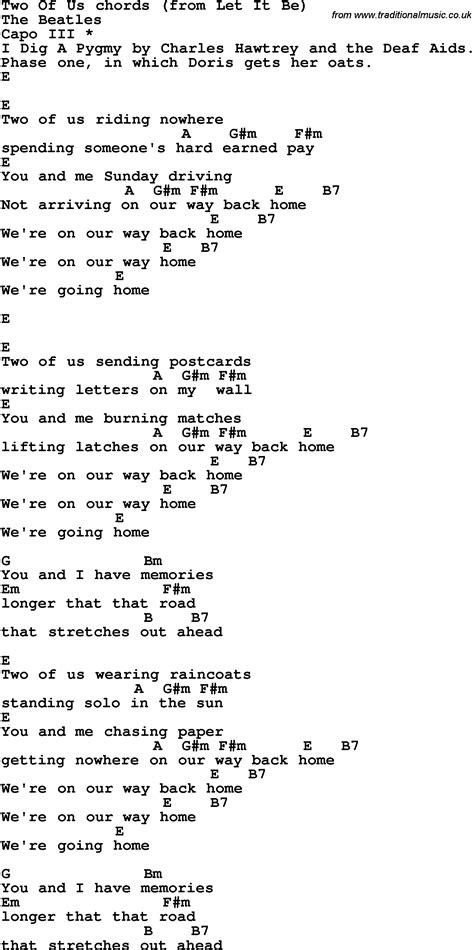 Two Of Us Guitar Chords