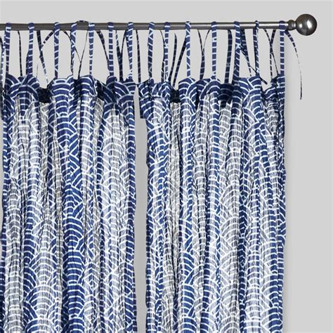 blue print curtains blue wave print crinkle sheer voile curtains set of 2