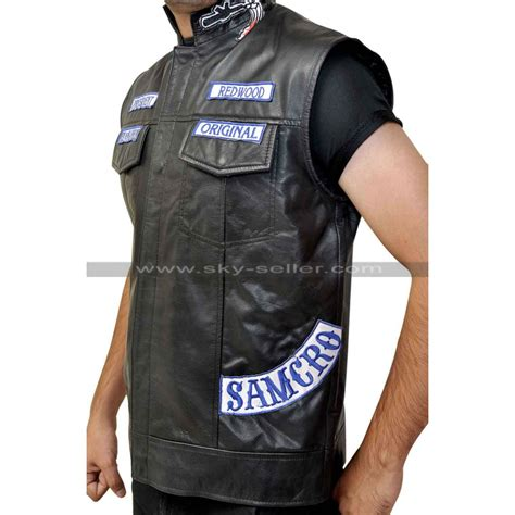 leather vest sons of anarchy jax teller motorcycle vest with patches s7
