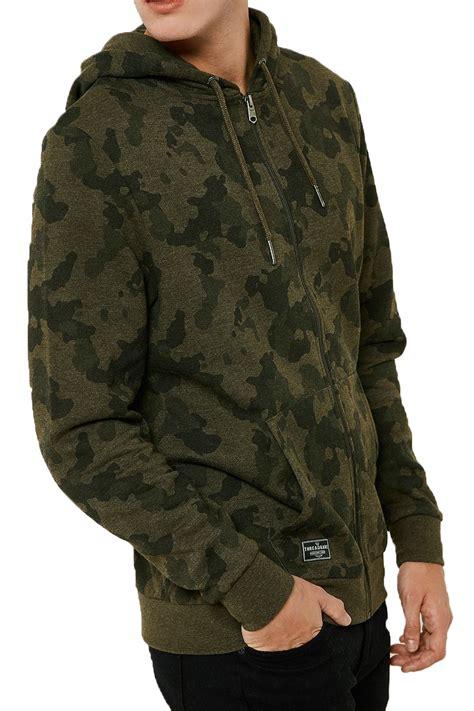 Camo Print Hoodie threadbare mens felton hoodie camo print zip up hooded