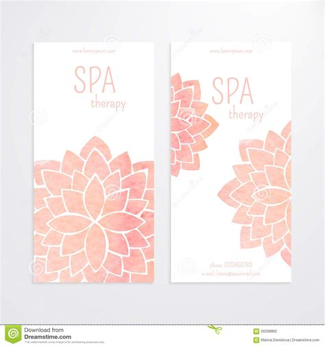vector templates of banners with watercolor pink lotus