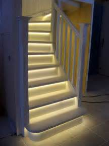 led beleuchtung treppenstufen white stairs with led lights by puupaja lumberjocks