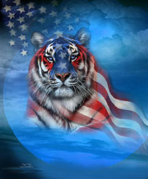 Superb American Flag Metal Wall Art #8: Tiger-flag-carol-cavalaris.jpg
