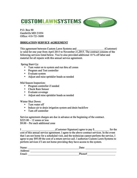 Irrigation Installation Contract Template Full Service Irrigation Solutions Services