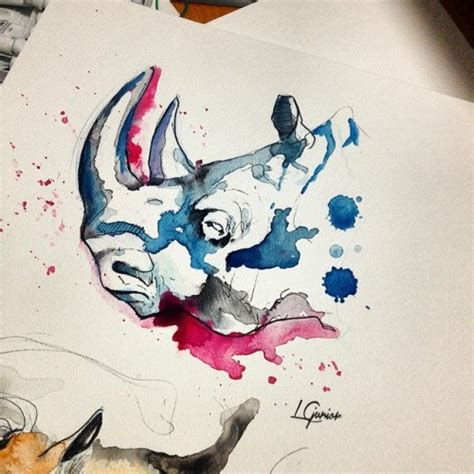 pink rhino tattoo pink and blue watercolor rhino design