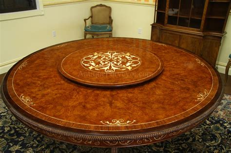Luxurious 72 inch Round Walnut and Pearl Inlaid Dining Table
