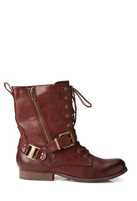 forever 21 shoes boots forever 21 runaround combat boots in brown wine lyst