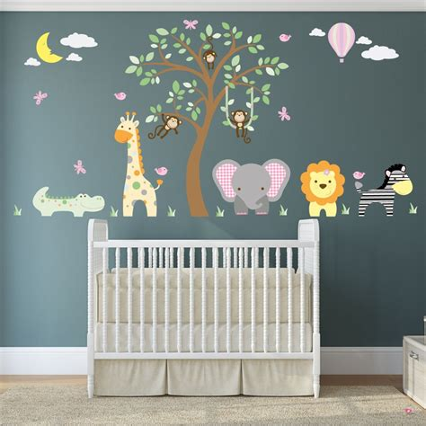 jungle animal nursery wall decals for baby nursery