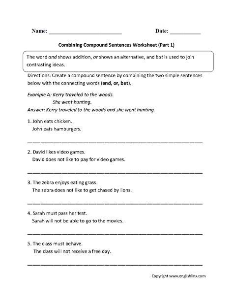 Simple Sentences Worksheet