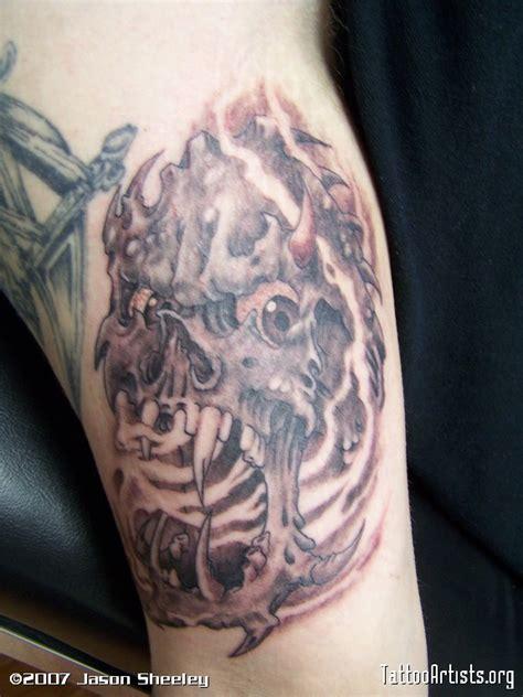 view askew tattoo skull in smoke artists org
