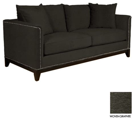 studded sectional la brea studded sofa woven graphite contemporary sofas